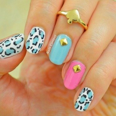 Leopard and Gold Studs nail art by NailsContext