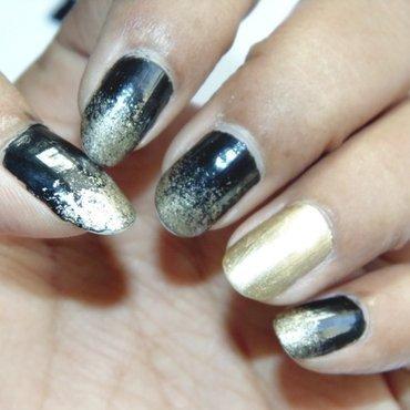 Gold and Black Sponge Nails nail art by Appu
