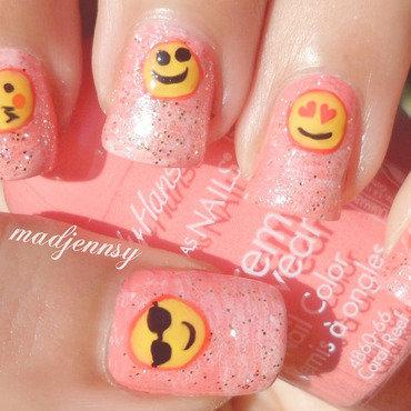 Pink Glittery Emoji Nail Art nail art by madjennsy Nail Art