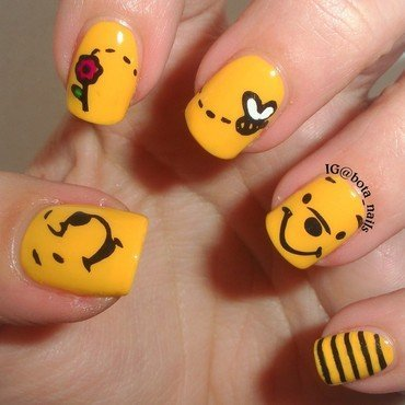 Winnie the Pooh stamping nail art by Meilina