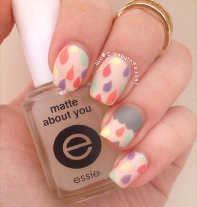 Multicolored Raindrops nail art by PolishIsSweet