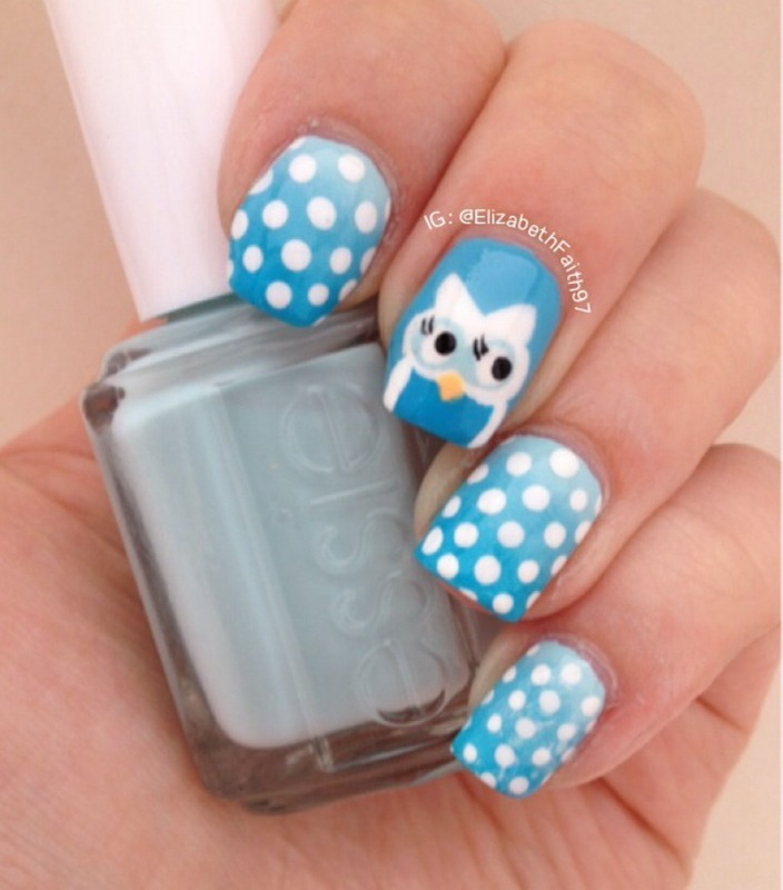 Ombre and Polka Dots with an Owl! nail art by PolishIsSweet