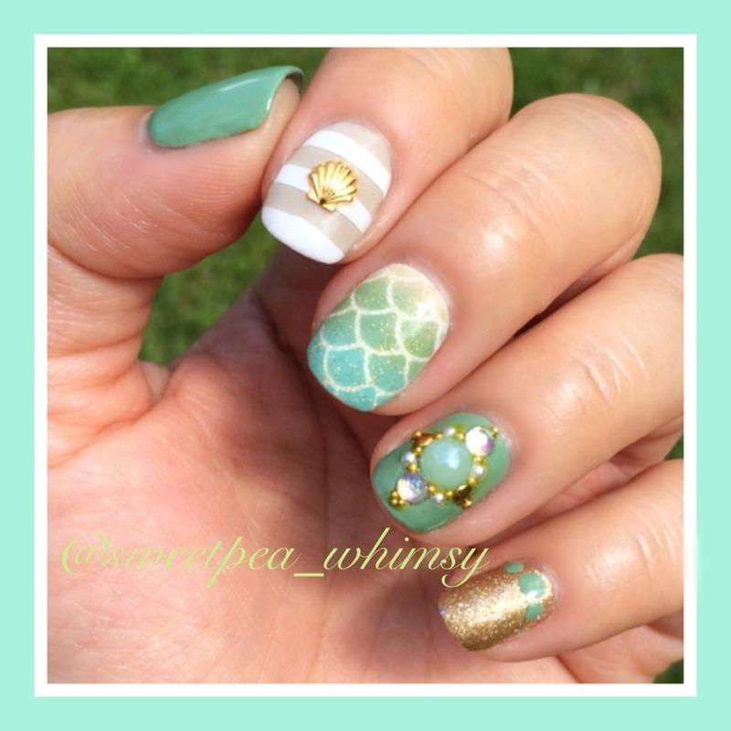 Jade Green & Gold Beach Nail nail art by SweetPea_Whimsy