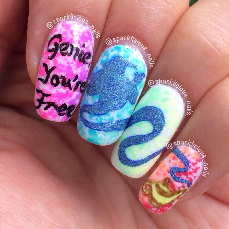"Genie, You're Free nail art by Amanda ""Sparklicious Nails"""
