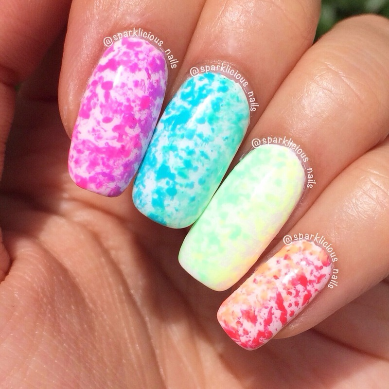 Neon Toothbrush Sponging Gradient Nail Art By Amanda Sparklicious