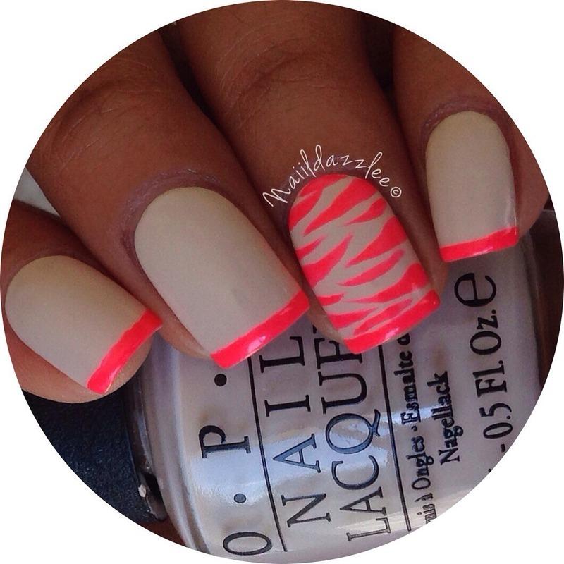 Nude & neon zebra french tips. nail art by Dvisha P - Nailpolis ...