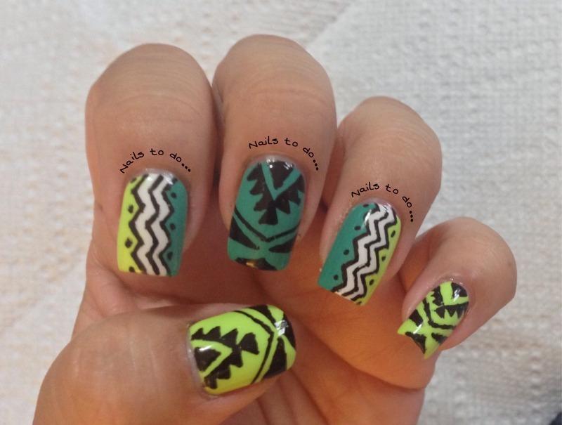 Tribal nail art by Jenny Hernandez