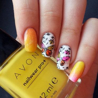 Butterfly print nail art by KonadAddict