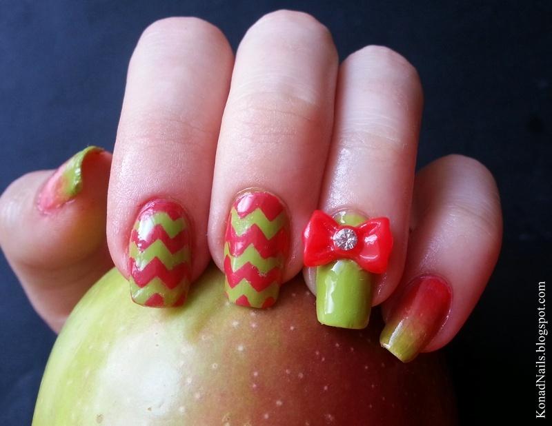 Apple inspired nails nail art by KonadAddict