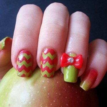 Apple inspired nails nail art by KonadAddict