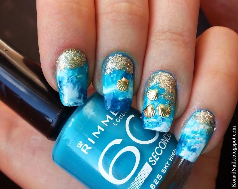 Sea foam nail art nail art by KonadAddict