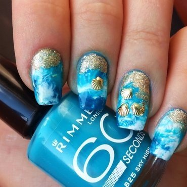 Sea foam nail art nail art by KonadAddict