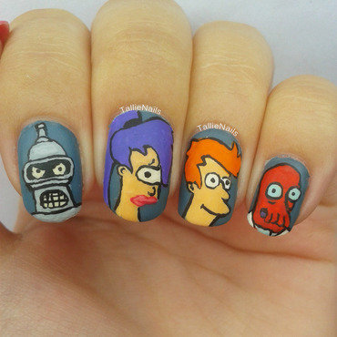 Futurama nail art by Tallie