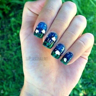 Counting sheep nail art by Sara T