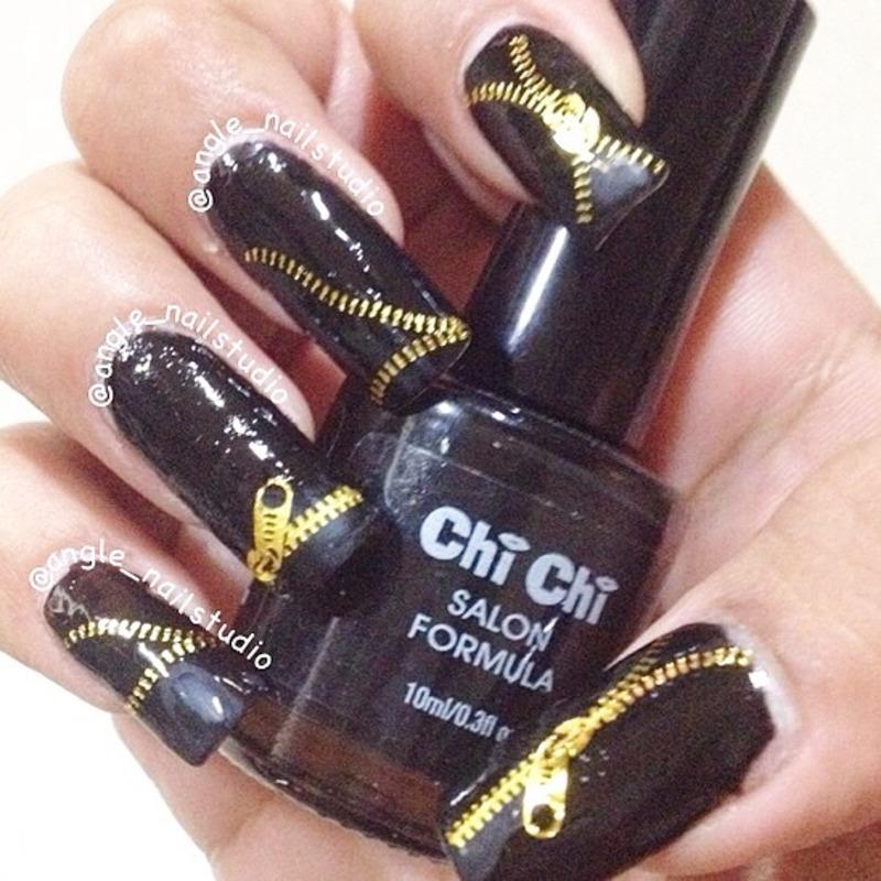 Zip up nails  nail art by Angelnailstudio