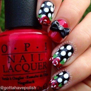 Polka dots with rose tips nail art by gottahavepolish