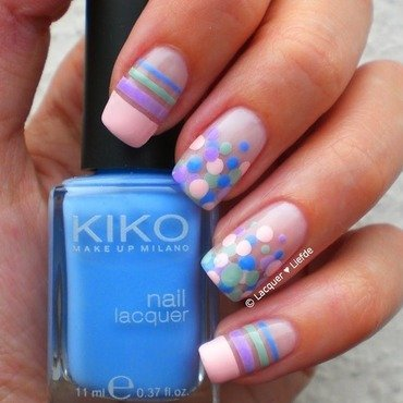 Dots and Stripes nail art by Anna