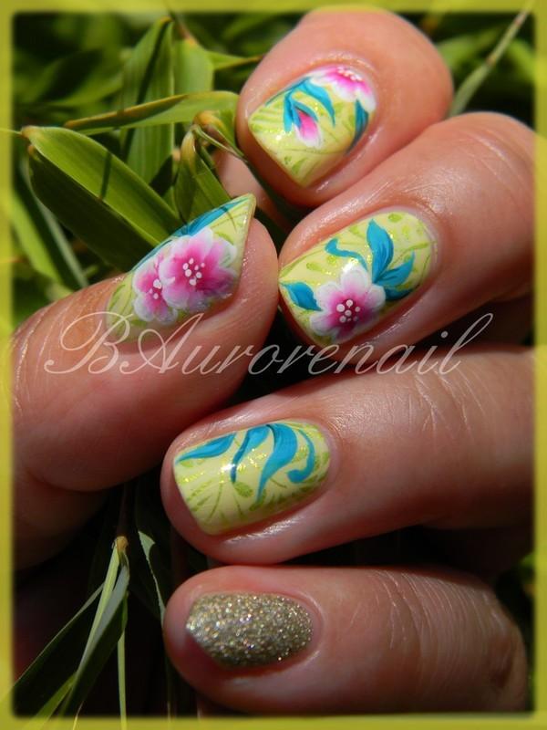 fleurette one stroke nail art by BAurorenail