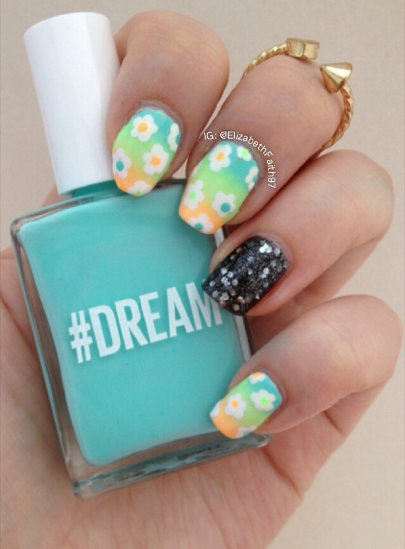 Ombre Floral nail art by PolishIsSweet