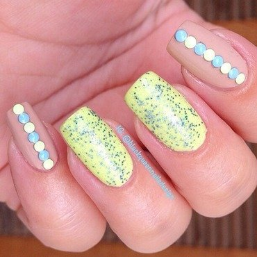 Nude and Neon studs nail art by Blackqueennailsdesign