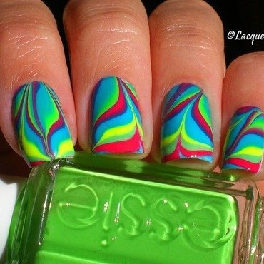 Rainbow Water Marble nail art by Anna