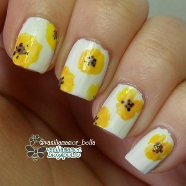 MatchOOTD 2. | Yellow poppy dress nail art by Isabella