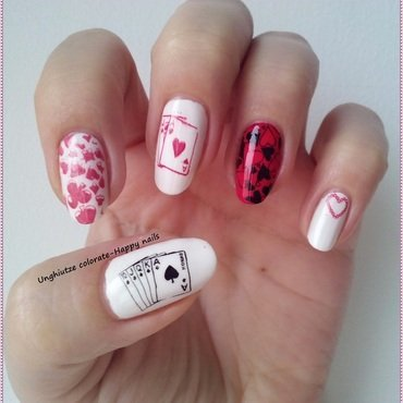 Queen of Hearts nail art by Oana  Alexandru
