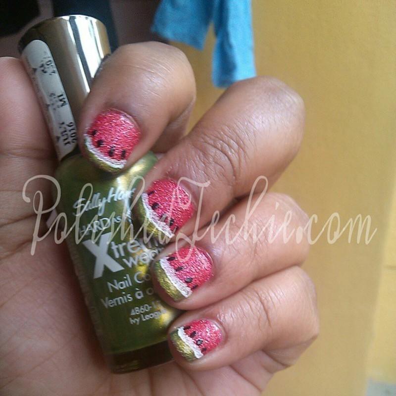 Watermelon Nails nail art by Rajani Polished Techie