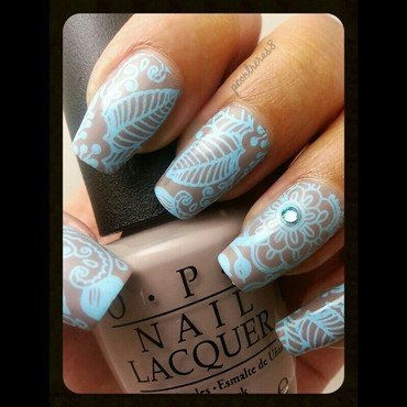 Baby Blue Flower  nail art by pcontreras8nails