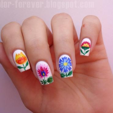 folk nails from Poland nail art by ania