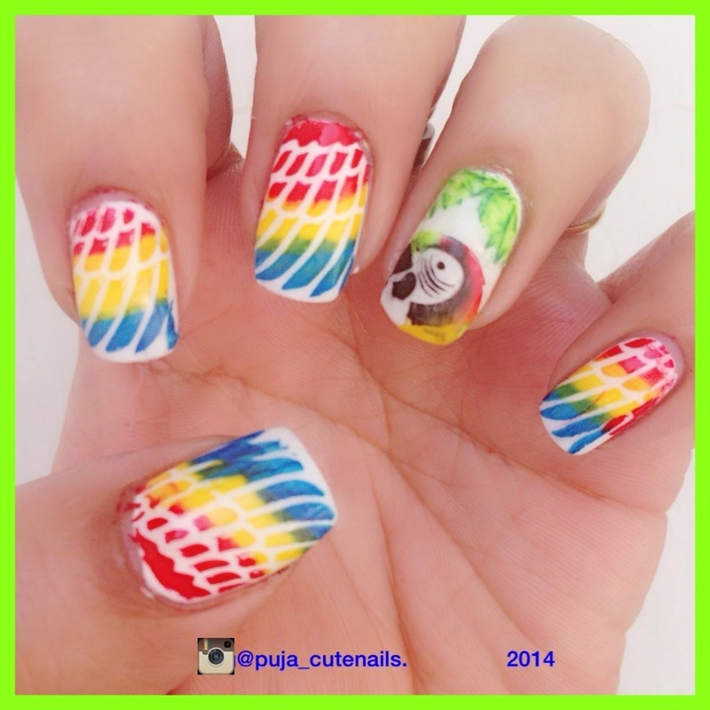Tropical parrot nail art nail art by Puja Malhotra