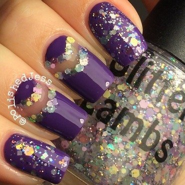 Purple Glitter  nail art by PolishedJess