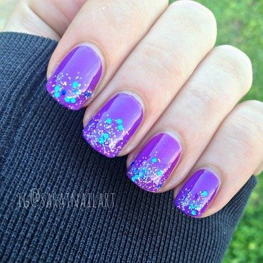Glitter tips nail art by Sara T