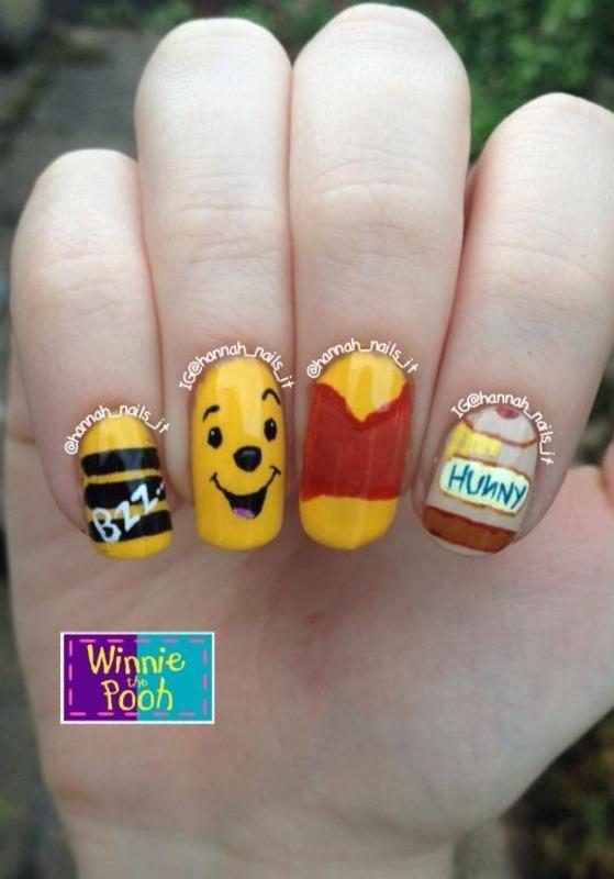 He's Winnie the Pooh, Winnie the Pooh.... nail art by Hannah