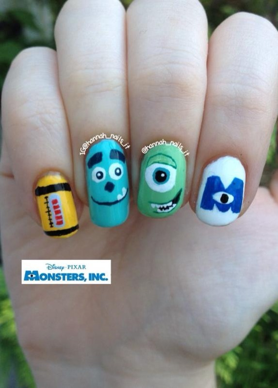 Welcome to Monstropolis nail art by Hannah