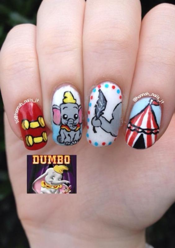 Dumbo Digits nail art by Hannah