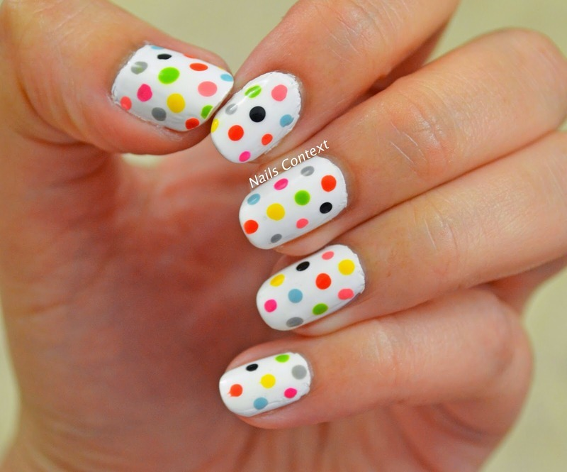 Skittle Dots nail art by NailsContext