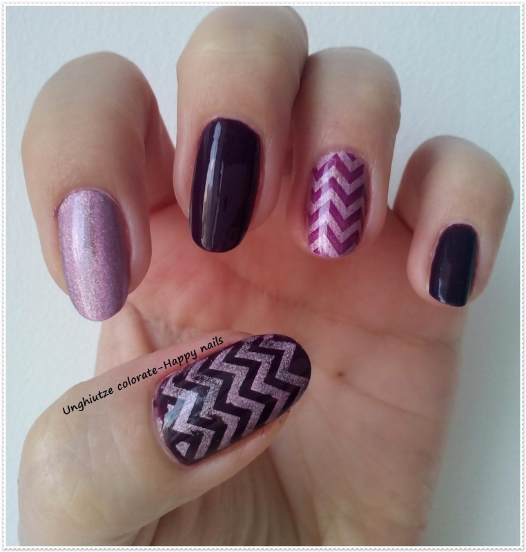 Purple&Holo Chevron nail art by Oana  Alexandru