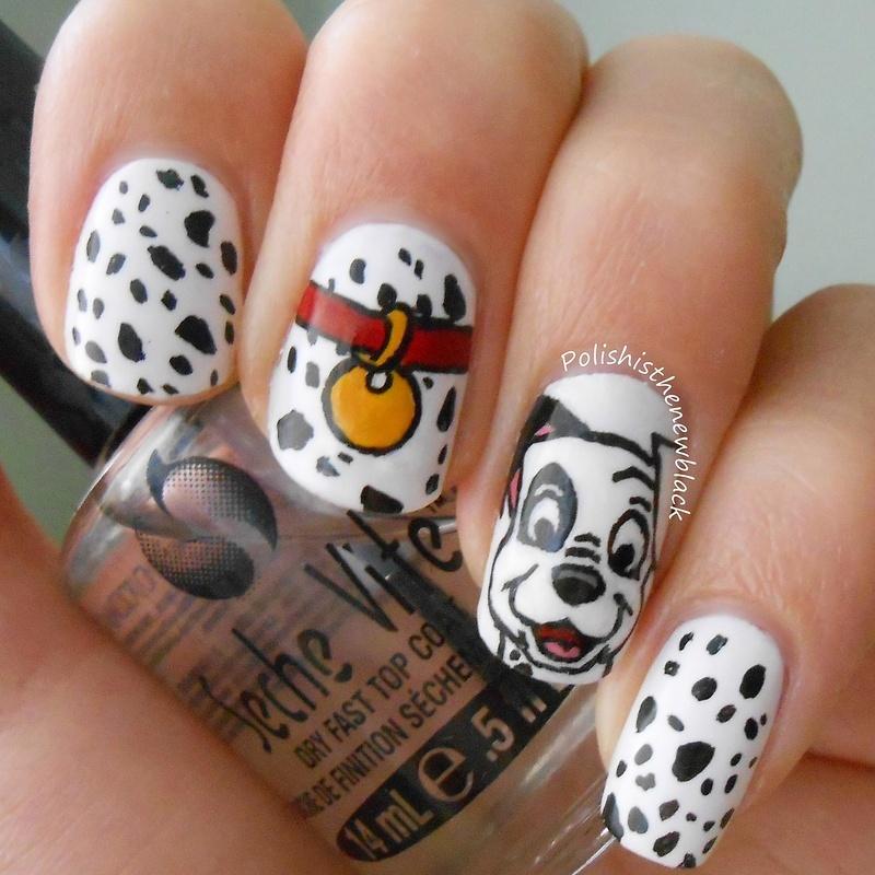 101 Dalmatians mani nail art by Polishisthenewblack