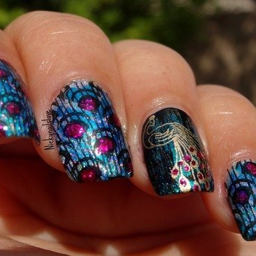 Peacock dance nail art by Nicky