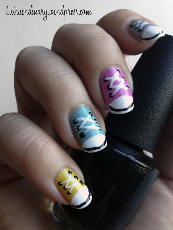 Converse Shoe Nails nail art by Katie