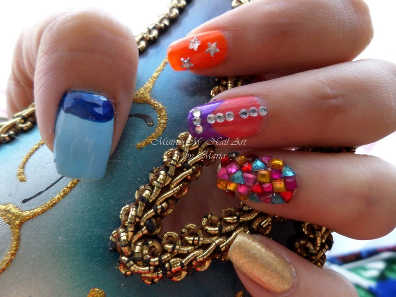 Nailpolis celebration nail art mix nail art by Maria M