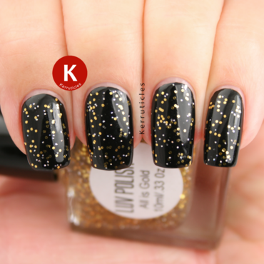 W7 Black and Luv Polish All Is Gold Swatch by Claire Kerr