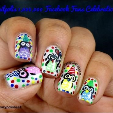 Party Owls nail art by CrazyPolishes (Dimpal)