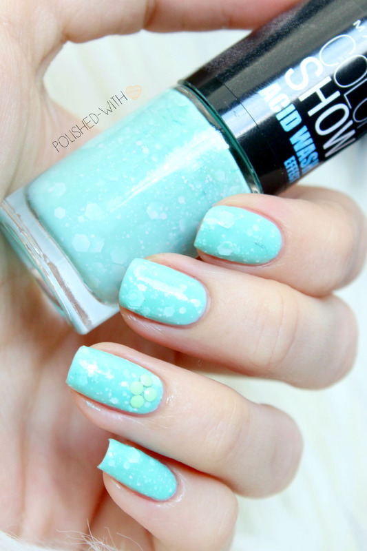 Essie Mint Candy Apple and Maybelline Mint Acid-ittude Swatch by Jen from polished-with-love