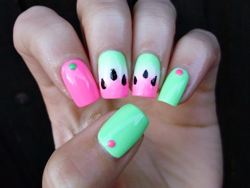 Watermelon gradient nails nail art by Sanela