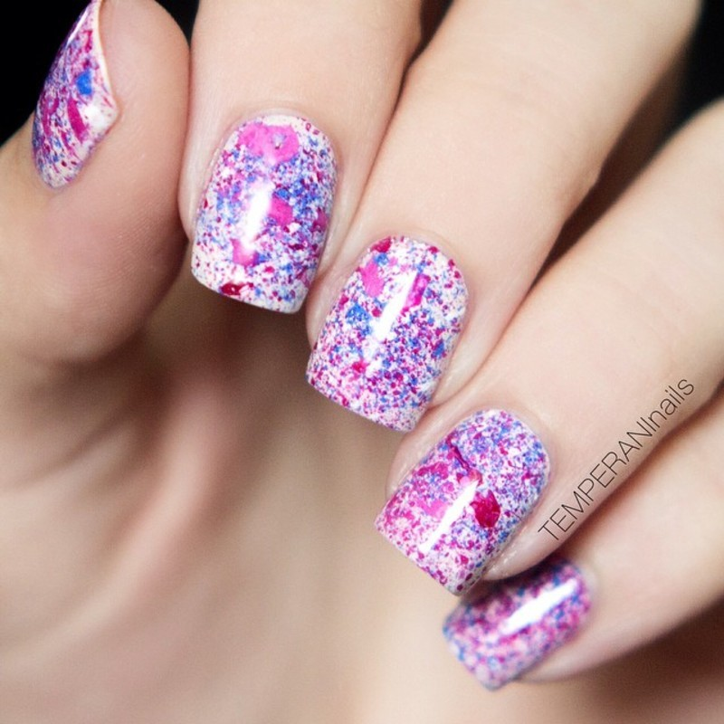 Splatter nail art by Temperani Nails