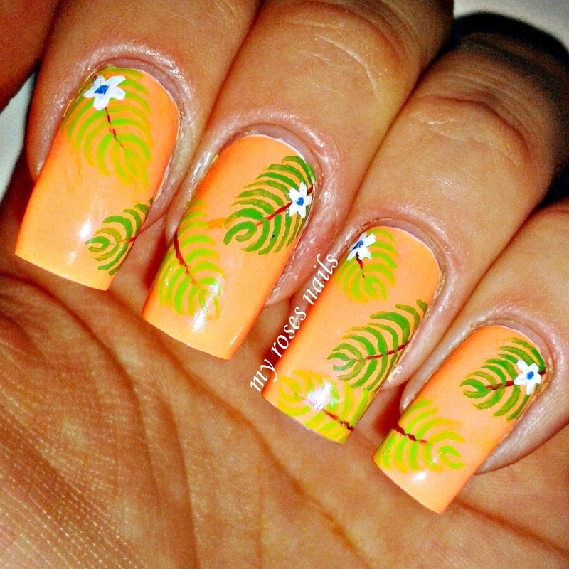 Hot tropics nail art by Ewa