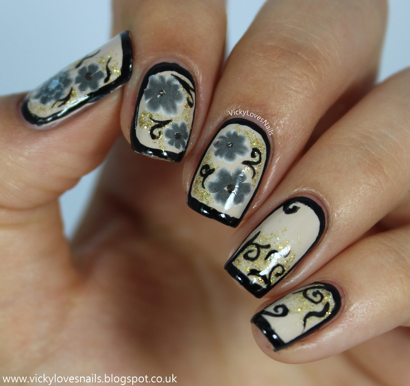 Vintage Style Floral Water Decals nail art by Vicky Standage