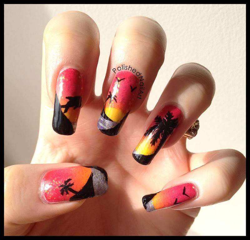 Sunset nail art by Carrie